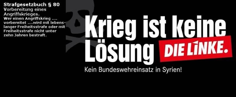 Keine Bundeswehr nach Syrien – Bomben schaffen keinen Frieden